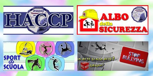 Collegamenti con informazioni su HACCP, Albo della sicurezza, Sport a Scuola, No al Bullismo e cyberbullismo